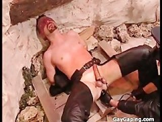 Eyefolded gay slave gets humiliate and balls punished by his horny master