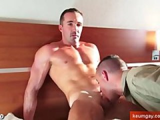 Sucking his big cock: Mature guy get sucked by a guy !