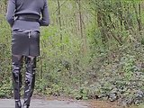 Amanda Walking Out In Leather Thigh High Boots