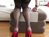 Black Dildo -Red High Heels- Black Stockings
