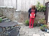 Alison – Piss And Cum In Red PVC Skirt And Thigh Boots