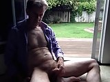 Open Door Masturbation And Cumshot — Backyard